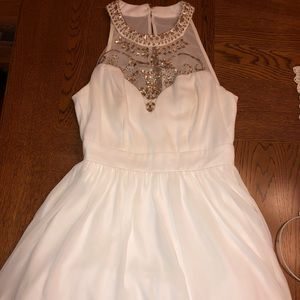 High neck white and gold jeweled hoco dress